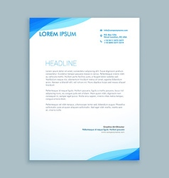 corporate blue wave letterhead design vector image