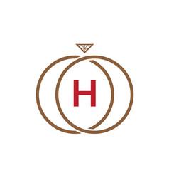 h letter ring diamond logo vector image