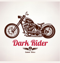motorcycle grunge silhouette retro emblem and vector image