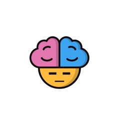 Suspicious smiley with big brains vector image vector image