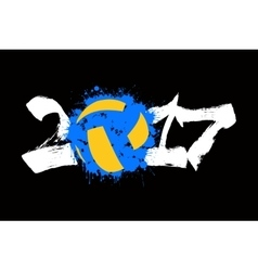 Abstract number 2017 and volleyball vector