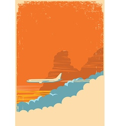 aircraft flying in sky on old paper texture vector image