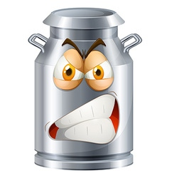 Angry face on milk tank vector image