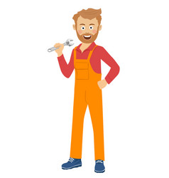 Auto mechanic man or smith with wrench at workshop vector