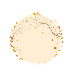 autumn round frame template for decor falling vector image
