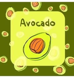 avocado sketch background for recipe vector image