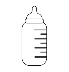 baby bottle symbol black and white vector image