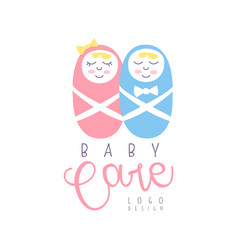 Baby care logo design emblem with sleeping vector