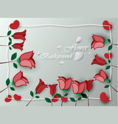 background greeting card red rose flower vector image