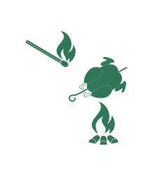 Barbecue Chick and Matches icon vector