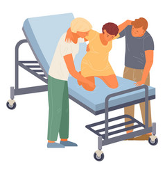 Birth position for pregnant woman husband nurse vector