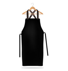 Black kitchen apron on hanger vector