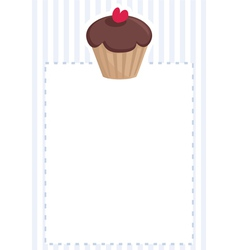 Blue card or invitation with chocolate cupcake vector image