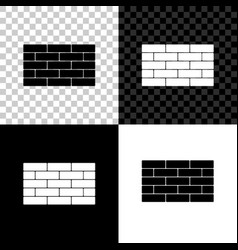bricks icon isolated on black white and vector image