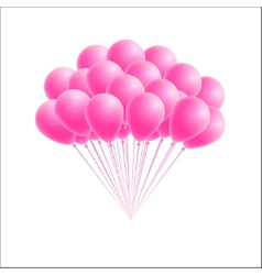 Bunch birthday or party pink balloons vector