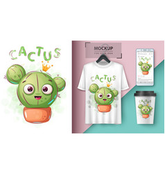 Cactus princess - mockup for your idea vector
