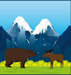 Canadian landscape with moose and grizzly bear vector