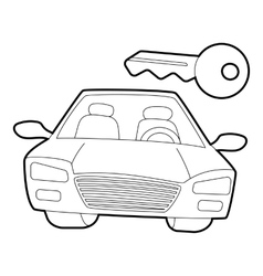 Car and key icon isometric 3d style vector
