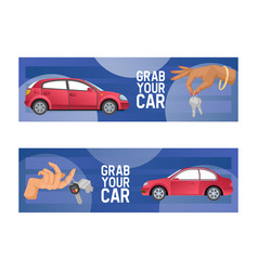 car hand holding automobile key of vehicle vector image
