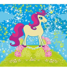 Card with stars and a beautiful unicorn vector
