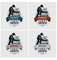 carpenter logo design artwork of carpentry vector image