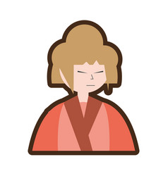 Cartoon character japanese woman attire costume vector