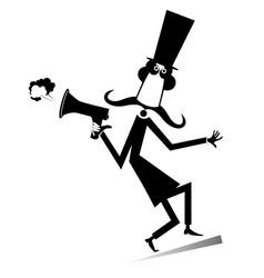 Cartoon long mustache man with megaphone vector