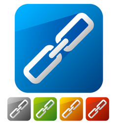 Chain link icons in 5 colors with diagonal shadow vector