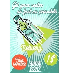 Color vintage Water delivery poster vector