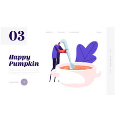 Cooking process website landing page tiny male vector