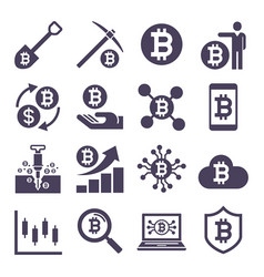 cryptocurrency mining icons vector image