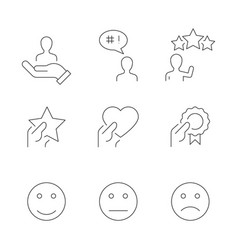 customer satisfaction line icons on white vector image