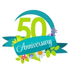 Cute Nature Flower Template 50 Years Anniversary vector image