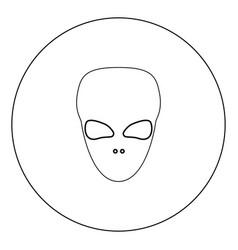 Extraterrestrial alien face or head black icon in vector