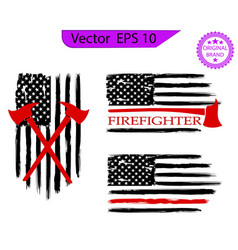 Firefighter us flag only commercial use vector