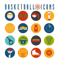 flat design icons of basketball vector image