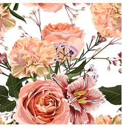Floral seamless pattern with tulips creamy roses vector