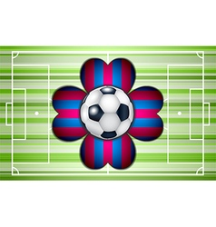 Football field with ball and flower vector image
