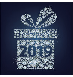 gift present with 2019 made up a lot of diamonds vector image