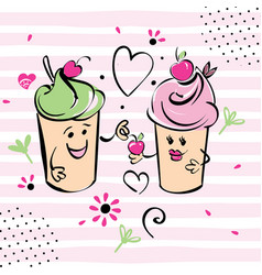 Girl and boy ice cream character and cherry vector
