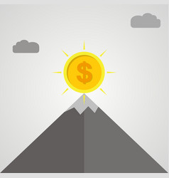 Gold coin on top of mountain business success vector
