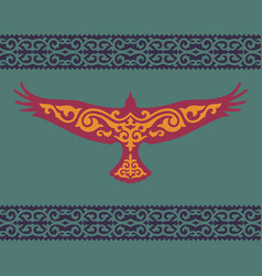 Golden eagle with a kazakh ornament vector