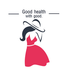 Good health will good woman in pink dress backgrou vector