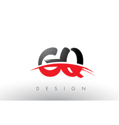 Gq g q brush logo letters with red and black vector