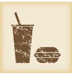 Grungy fast food icon vector image