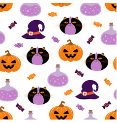 halloween cute cartoon character seamless pattern vector image