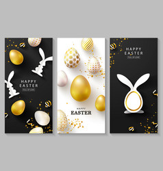 Happy easter set vertical cardsbeautiful vector