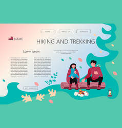 Hiking trekking people vector