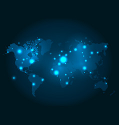 Illuminated world map with glowing dots vector