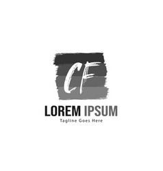 Initial cf logo template with modern frame vector